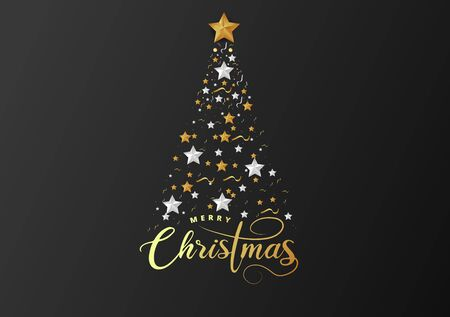 Christmas Tree made of Cutout Gold Foil and White Paper Stars, Silver Glitter Beads on Black Background. Chic Christmas Greeting Card.
