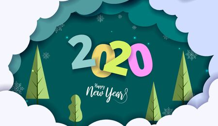 2020 New Year design card with green background with clouds. Vector paper art illustration. Paper cut and craft style.