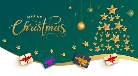 Merry Christmas celebration greeting card with golden stars and baubles.