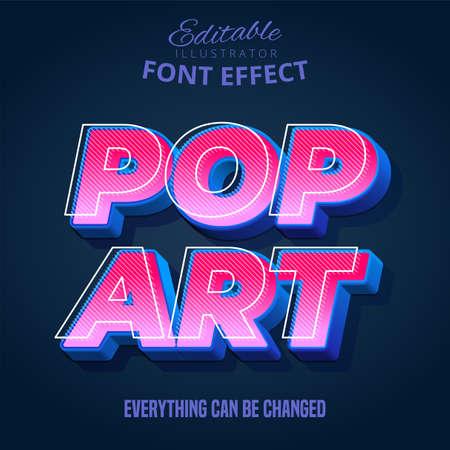 Pop Art text, editable text effect Vetores