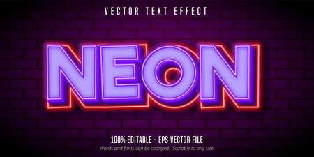 Neon text, purple neon style editable text effect Çizim
