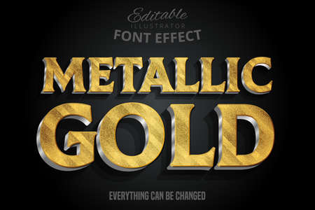 Metallic gold 3d text effect with silver extrude