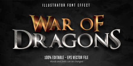 War of dragons text, 3d game style editable font effect