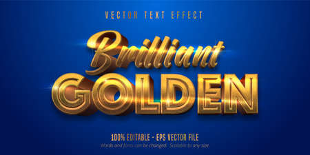 Brilliant golden text, shiny gold style editable text effect Ilustração Vetorial