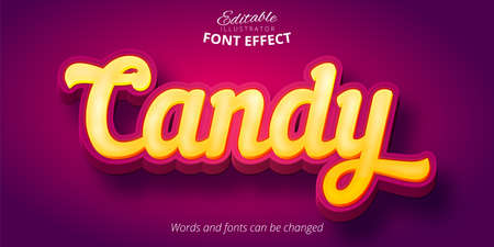 Candy text, 3d editable font effect