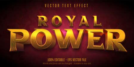 Royal power text, golden editable text effect
