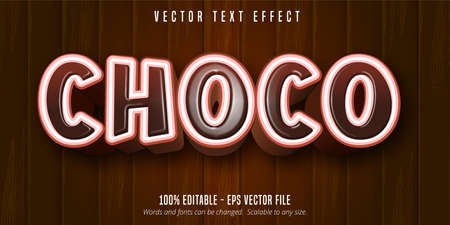 Choco text, cartoon style editable text effect on wooden background Illustration