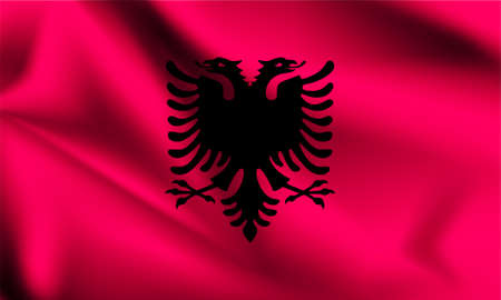Albania flag blowing in the wind. part of a series. Albania waving flag.