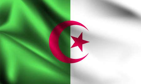 Algeria flag blowing in the wind. part of a series. Algeria waving flag. Ilustração