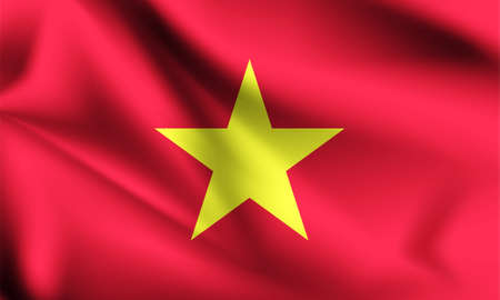 Vietnam flag blowing in the wind. part of a series. Vietnam waving flag.