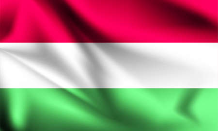 Hungary flag waving with the wind, 3D illustration