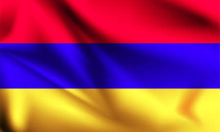Armenia flag blowing in the wind. part of a series. Armenia waving flag.