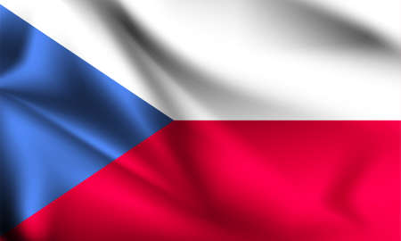Czech Republic flag blowing in the wind. part of a series. Czech Republic waving flag. 矢量图像