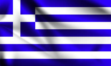 Greece flag waving with the wind, 3D illustration