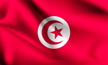 Tunisia flag blowing in the wind. part of a series. Tunisia waving flag.