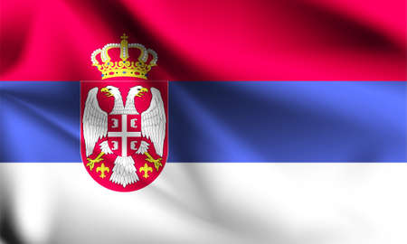 Serbia flag blowing in the wind. part of a series. Serbia waving flag. Ilustração