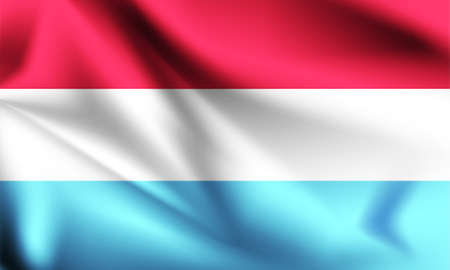 Luxembourg flag blowing in the wind. part of a series. Luxembourg waving flag. Ilustração