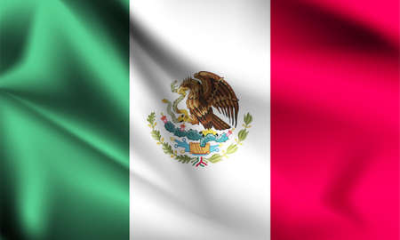 Mexico flag blowing in the wind. part of a series. Mexico waving flag.