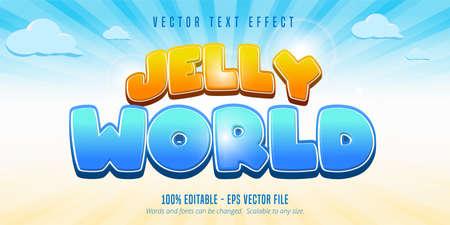 Jelly world text, game style editable text effect Vektorové ilustrace