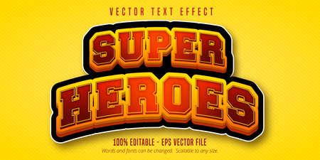 Super heroes text, cartoon style editable text effect Illustration