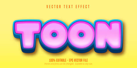 Toon text, game style editable text effect Vettoriali