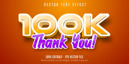 Thank you 100k text, editable text effect
