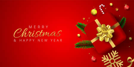 Red header or banner design decorated with gift box, baubles, snowflake and pine leaves for Merry Christmas and Happy New Year.