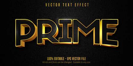 Prime text, luxury golden editable text effect on black canvas background Vetores