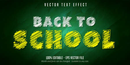 Back to school text, chalk style editable text effect