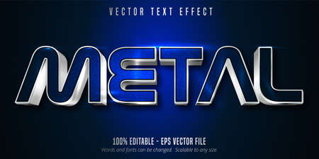 Metal text, silver style editable text effect on blue canvas background