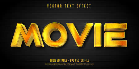 Movie text, shiny golden style editable text effect