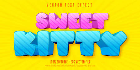 Sweet kitty text, cartoon style editable text effect