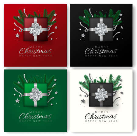 Merry christmas and Happy New Year greeting card design with top view of stars, tree pines and gift box decoration on 4 different color background.