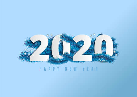 2020 happy new year lettering on ice blue background decorated with pine leaves and berries.