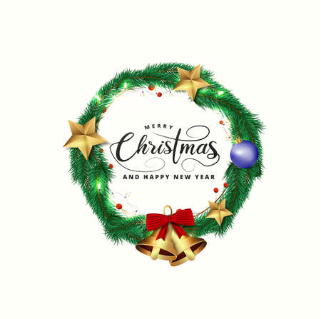 Merry christmas and Happy New Year greeting card design with top view of bauble, tree pines, stars and lighting garland decoration on white background.