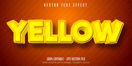 Yellow text, cartoon game style editable text effect Illustration