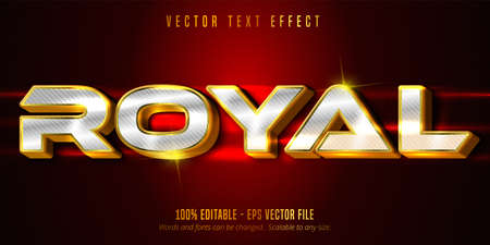 Royal text, luxury golden and silver editable text effect on textured background Vetores