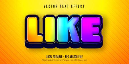 Like text, shiny colorful editable text effect Çizim