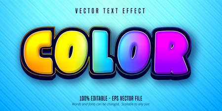 Color text, shiny colorful editable text effect