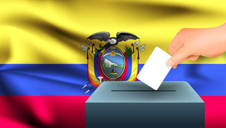 Male hand puts down a white sheet of paper with a mark as a symbol of a ballot paper against the background of the Ecuador flag. Ecuador the symbol of elections