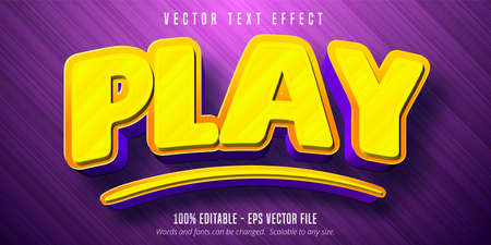 Play text, cartoon style editable text effect