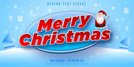 Merry Christmas text, christmas style editable text effect Ilustração