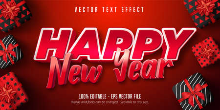 Happy new year text, red color style editable text effect
