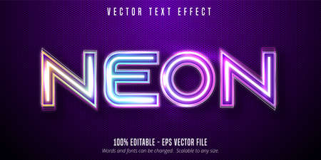 Neon text, Neon lights signage style editable text effect