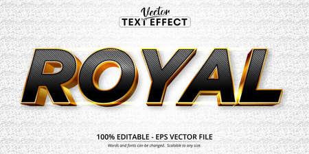 Royal text, shiny gold style editable text effect Ilustração Vetorial
