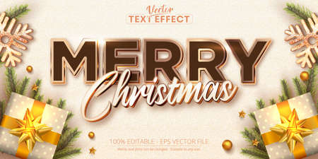 Merry christmas text, rose gold color style editable text effect Vettoriali