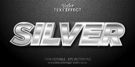 Silver text, shiny silver style editable text effect Vecteurs