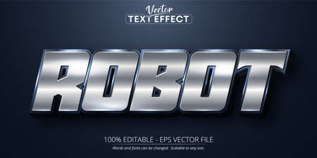 Robot text, shiny silver color style editable text effect