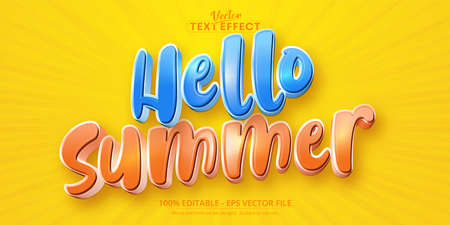 Hello summer text, cartoon style editable text effect
