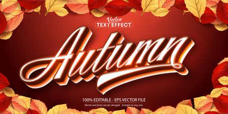 Autumn text, autumn style editable text effect on autumn leaves and textured background Ilustração Vetorial